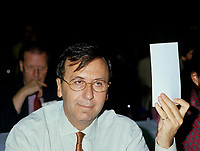 Montreal (QC) CANADA - File Photo - 1993 -<br /> <br /> Andre Boulerice, Parti Quebecois MNA for Sainte-Marie-Saint-Jacques in Montreal.<br /> <br /> <br /> AndrÈ Boulerice (born May 8, 1946 in Joliette, Quebec) is a QuÈbÈcois politician and gay rights activist. He was a member of the National Assembly of Quebec for the riding of Sainte-MarieóSaint-Jacques in Montreal.<br /> <br /> Born in Joliette, he graduated in specialized education from CÈgep du Vieux MontrÈal. He joined the Parti QuÈbÈcois in 1970 and later worked for the Chambly school board.<br /> <br /> He was elected in the Sainte-MarieóSaint-Jacques riding in 1989, formerly under Claude Charron. Boulerice was reelected in 1994, 1998 and 2003. He was also the assistant leader in the government, president of the Quebec division of the AssemblÈe parlementaire de la Francophonie and Quebec immigration minister. He helped introduce civil union for same-sex couples. Boulerice resigned in September 2005.