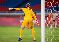 YOKOHAMA, JAPAN - JULY 30: Sari van Veenendaal #1 of the Netherlands yells to her team during a game between Netherlands and USWNT at International Stadium Yokohama on July 30, 2021 in Yokohama, Japan.