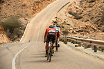 The breakaway featuring Nathan Van Hooydonck (BEL) CCC Team, Stijn Vandenbergh (BEL) AG2R La Mondiale, Alexis Guerin (FRA) Delko-Marseille Provence and Adam de Vos (CAN) Rally-UHC during Stage 6 of the 10th Tour of Oman 2019, running 135.5km from Al Mouj Muscat to Matrah Corniche, Oman. 21st February 2019.<br /> Picture: ASO/Kåre Dehlie Thorstad | Cyclefile<br /> All photos usage must carry mandatory copyright credit (© Cyclefile | ASO/Kåre Dehlie Thorstad)