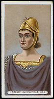 HAROLD I called HAROLD HAREFOOT  King of England (1035-40) / Unattributed design on a cigarette card / -1040