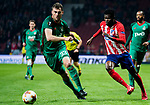 Thomas Teye Partey (R) of Atletico de Madrid battles for the ball with Solomon Kvirkvelia of FC Lokomotiv Moscow during the UEFA Europa League 2017-18 Round of 16 (1st leg) match between Atletico de Madrid and FC Lokomotiv Moscow at Wanda Metropolitano  on March 08 2018 in Madrid, Spain. Photo by Diego Souto / Power Sport Images
