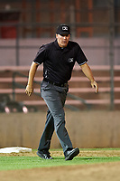 Field umpire Casey James during a Pioneer League game between the Great Falls Voyagers and Missoula Osprey at Centene Stadium at Legion Park on August 19, 2019 in Great Falls, Montana. Missoula defeated Great Falls 1-0 in the second game of a doubleheader. (Zachary Lucy/Four Seam Images)