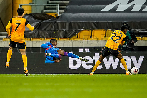 30th October 2020; Molineux Stadium, Wolverhampton, West Midlands, England; English Premier League Football, Wolverhampton Wanderers versus Crystal Palace; Wilfried Zaha of Crystal Palace tries a scissor volley for a shot at goal