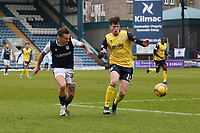 20th February 2021; Dens Park, Dundee, Scotland; Scottish Championship Football, Dundee FC versus Queen of the South; Jason Cummings of Dundee and Calvin McGrory of Queen of the South
