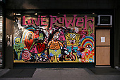 New York New York<br /> June 21, 2020<br /> <br /> Paintings fill the streets on the lower east side by artists working with local shop owners to beautify the district's plywood covered windows initially to distract looters during the Black Lives Matters moment and coronavirus pandemic. <br /> <br /> New York enters phase 2 this week and opens shops many of these will quickly disappear.