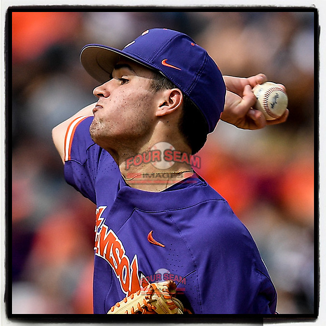 Starter Davis Sharpe (30) of the Clemson Tigers delivers a pitch in the Reedy River Rivalry game against the South Carolina Gamecocks on Saturday, March 2, 2019, at Fluor Field at the West End in Greenville, South Carolina. Clemson won, 11-5. (Tom Priddy/Four Seam Images)