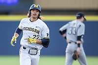 Michigan Wolverines first baseman Jordan Brewer (22) rounds the bases after his 4th inning 2 run home run against the Western Michigan Broncos on March 18, 2019 in the NCAA baseball game at Ray Fisher Stadium in Ann Arbor, Michigan. Michigan defeated Western Michigan 12-5. (Andrew Woolley/Four Seam Images)