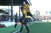 David Pipe joins Frank Nouble of Newport County as he celebrates scoring his sides first goal of the match to equalise with Leeds after his cross deflected off Conor Shaughnessy of Leeds United the Fly Emirates FA Cup Third Round match between Newport County and Leeds United at Rodney Parade, Newport, Wales, UK. Sunday 07 January 2018