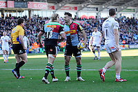 Danny Care of Harlequins celebrates scoring a try with team mate Matt Hopper of Harlequins during the Aviva Premiership Rugby match between Harlequins and London Irish at The Twickenham Stoop on Saturday 7th March 2015 (Photo by Rob Munro)