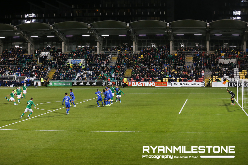 EVENT:<br /> UEFA European U21 Championship Qualifier Group 1 Republic of Ireland v Italy<br /> Thursday 10th October 2019,<br /> Tallaght Stadium, Dublin<br /> <br /> CAPTION:<br /> Jayson Molumby of Republic of Ireland takes a free kick<br /> <br /> Photo By: Michael P Ryan