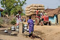 INDIA Chhattisgarh, Bastar, tribal Gond woman in door of hut / INDIEN Chhattisgarh , Bastar, Adivasi Frau des Gond Stammes, indische Ureinwohner