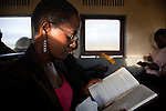 """Patricia Wachira, rides the train from Athi River to her job in Nairobi. """"You arrive at work fresh, you've not spent the whole time in pollution, in the jams, with all the noise. There was no way I could read my Bible on the matatu."""""""