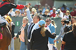 HOT SPRINGS, AR - APRIL 15: Jockey Ricardo Santanta, Jr.  high fives trainer Ron Moquett after winning aboard Whitmore in the Count Fleet Sprint Handicap at Oaklawn Park on April 15, 2017 in Hot Springs, Arkansas. (Photo by Justin Manning/Eclipse Sportswire/Getty Images)