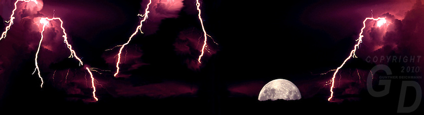 Lightning storm and Moonrise