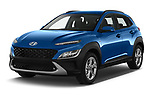 2021 Hyundai Kona Techno 5 Door SUV Angular Front automotive stock photos of front three quarter view