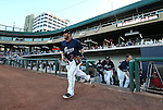 Reno Aces' Garrett Weber takes the field for a game in Reno, Nev., on Saturday, Sept. 6, 2014. The Reno Aces defeated the Las Vegas 51s, 7-3, to win the Pacific Conference Championship Series. <br /> Photo by Cathleen Allison