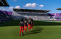 ORLANDO, FL - FEBRUARY 24: Canada takes the field before a game between Brazil and Canada at Exploria Stadium on February 24, 2021 in Orlando, Florida.