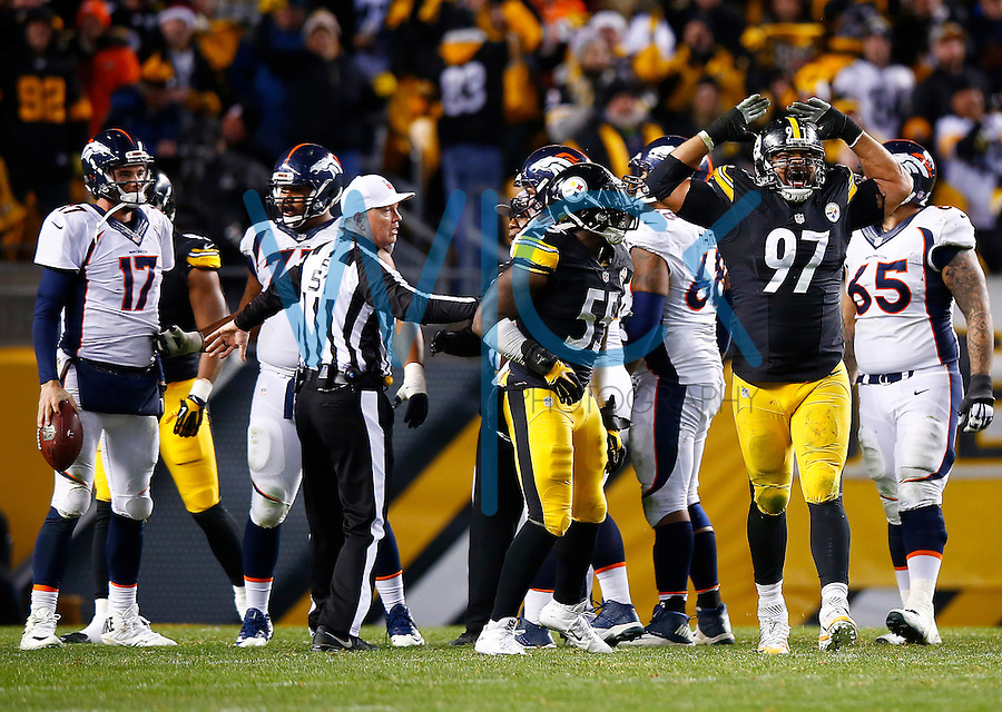 Cameron Heyward #97 of the Pittsburgh Steelers reacts following a sack on Brock Osweiler #17 of the Denver Broncos in the second half during the game at Heinz Field on December 20, 2015 in Pittsburgh, Pennsylvania. (Photo by Jared Wickerham/DKPittsburghSports)