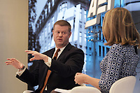 """Washington, DC - November 21, 2019: US Army Secretary Ryan McCarthy speaks about """"Uncle Sam Wants You- and Lots of Robots- for the US Army"""" today Nov 21, 2019 at American Enterprise Institute in Washington, D.C. . US Army Secretary Ryan McCarthy  November 21, 2019. (Photo by Lenin Nolly/Media Images International)"""