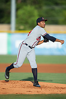 Danville Braves starting pitcher Huascar Ynoa (54) follows through on his delivery against the Burlington Royals at Burlington Athletic Stadium on August 15, 2017 in Burlington, North Carolina.  The Royals defeated the Braves 6-2.  (Brian Westerholt/Four Seam Images)