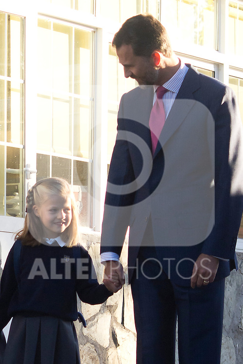 14.09.2012. Prince Felipe of Spain, Princess Letizia of Spain and their daughters Leonor and Sofia  arrive at 'Santa Maria de los Rosales' School in Aravaca near of Madrid, Spain. In the image (L-R) Princess Leonor and Prince Felipe (Alterphotos/Marta Gonzalez)