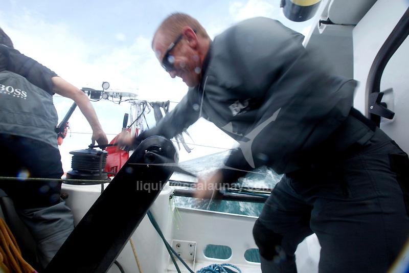 Onboard Hugo Boss  racing around the Isle of Wight in the Artemis Challenge. Skipper Alex Thomson & Crew along with celebrity Ewan McGregor.