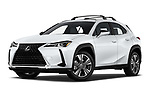 Stock pictures of low aggressive front three quarter view of 2019 Lexus UX 200 5 Door SUV Low Aggressive