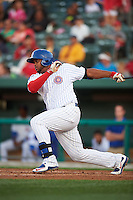 South Bend Cubs outfielder Yasiel Balaguert (22) at bat during a game against the Cedar Rapids Kernels on June 5, 2015 at Four Winds Field in South Bend, Indiana.  South Bend defeated Cedar Rapids 9-4.  (Mike Janes/Four Seam Images)