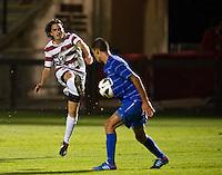 STANFORD, CA - September 12, 2012: Stanford midfielder Austin Meyer (17) during the Stanford vs San Jose St. men's soccer match in Stanford, California. Final score, Stanford 2, San Jose St. 1 in overtime.