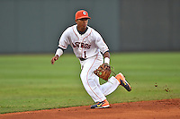 Greenville Astros shortstop Antonio Nunez #1 during a game against the Pulaski Mariners at Pioneer Park July 12, 2014 in Greenville, Tennessee. The Mariners defeated the Astros 11-10. (Tony Farlow/Four Seam Images)
