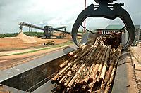 Início do processo industrial na fábrica da Jarí de papel e celulose  (grupo Orsa).<br />A fábrica construída em cima de uma balsa foi trazida por empurradores do Japão no final da década de 70 e instalada as margens do rio Jarí, fronteira do Pará com o Amapá.<br />Pelo porto construído ao lado da fábrica administrado pela Amazonlog é feito o escoamento da produção de papel e celulose. <br />Almeirim, Pará, Brasil.<br />Foto Paulo Santos/Interfoto<br />03/2005.Fábrica da Jarí de papel e celulose  (grupo Orsa).<br />A fábrica construída em cima de uma balsa foi trazida por empurradores do Japão no final da década de 70 e instalada as margens do rio Jarí, fronteira do Pará com o Amapá.<br />Pelo porto construído ao lado da fábrica administrado pela Amazonlog é feito o escoamento da produção de papel e celulose. <br />Almeirim, Pará, Brasil.<br />Foto Paulo Santos/Interfoto<br />03/2005.