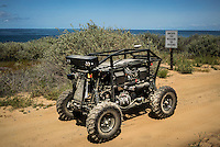 An autonomous vehicle called RaDer stands on a testing route at Spawar, or Space and Naval Warfare Systems Command, a research and operations arm of the Navy. The Unmanned Systems Group at Spawar is developing autonomous vehicles for the military, which they think will revolutionise the way the military fights. The challenge is to develop autonomous vehicles sturdy enough to operate in environments where there are no roads.