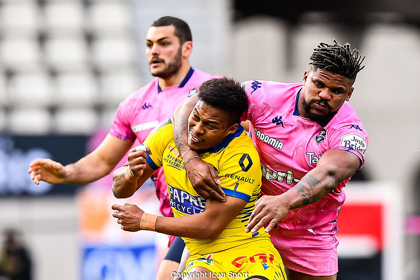 Kotaro MATSUSHIMA of Clermont and Waisea NAYACALEVU of Stade Francais during the French Top 14 rugby match between Stade Francais and Clermont at Stade Jean Bouin on March 27, 2021 in Paris, France. (Photo by Baptiste Fernandez/Icon Sport) - Kotaro MATSUSHIMA - Waisea NAYACALEVU - Stade Jean Bouin - Paris (France)