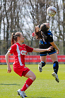 Angel Kerkhove (11) of Club Brugge and Gwyneth Vanaenrode (3) of Standard in action during a female soccer game between Standard Femina de Liege and Club Brugge YLA on the 2nd matchday in play off 1 of the 2020 - 2021 season of Belgian Scooore Womens Super League , saturday 17 th of April 2021  in Angleur , Belgium . PHOTO SPORTPIX.BE | SPP | SEVIL OKTEM