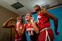 DENVER, CO--Chiney Ogwumike, Nneka Ogwumike, and Joslyn Tinkle record a video board spot during media day at the Pepsi Center for the 2012 NCAA Women's Final Four in Denver, CO.