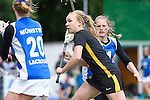 GER - Hannover, Germany, May 30: During the Women Lacrosse Playoffs 2015 match between Muenster Mohawks (blue) and HTHC Hamburg (black) on May 30, 2015 at Deutscher Hockey-Club Hannover e.V. in Hannover, Germany. Final score 9:20. (Photo by Dirk Markgraf / www.265-images.com) *** Local caption *** Emma Mollenhauer #1 of HTHC Hamburg