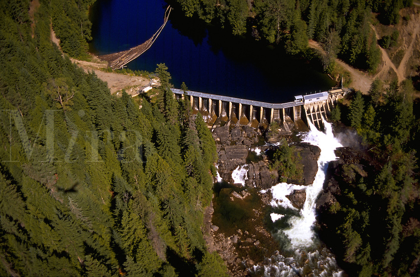 Aerial view of a Canadian hydropower dam. British Columbia, Canada.