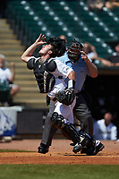 Wake Forest Demon Deacons catcher Ben Breazeale (39) tracks a foul pop fly during the game against the Miami Hurricanes in Game Nine of the 2017 ACC Baseball Championship at Louisville Slugger Field on May 26, 2017 in Louisville, Kentucky. The Hurricanes defeated the Demon Deacons 5-2. (Brian Westerholt/Four Seam Images)