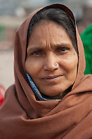 Agra, India.  Indian Muslim Woman at the Jama Masjid, the Friday Mosque.  Note nose-pin.