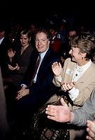 FILE -   Jean Charest, son epose (G) et Lucienne Robillard (D) lorsque<br /> Les partisans du non tiennent un grand rassemblement a l'auditorium de Verdun le 24 octobre 1995<br /> <br /> PHOTO : Agence Quebec Presse
