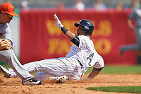 New York Yankees second baseman Starlin Castro (14) slides into second during a Spring Training game against the Detroit Tigers on March 2, 2016 at George M. Steinbrenner Field in Tampa, Florida.  New York defeated Detroit 10-9.  (Mike Janes/Four Seam Images)
