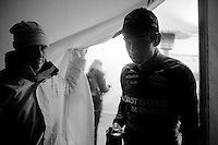 Wout Van Aert (BEL/Vastgoedservice-Golden Palace) out of the press tent on his way to the podium<br /> <br /> Zilvermeercross 2014