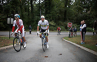 2 race favourites Michal Kwiatkowski (POL/Etixx-Quickstep) & Michael Matthews (AUS/Orica-GreenEDGE) getting back from sign-in<br /> <br /> Elite Men Road Race<br /> UCI Road World Championships Richmond 2015 / USA