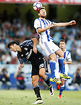 Real Sociedad's Asier Illarramendi (r) and Real Madrid's Marco Asensio during La Liga match. August 21,2016. (ALTERPHOTOS/Acero)