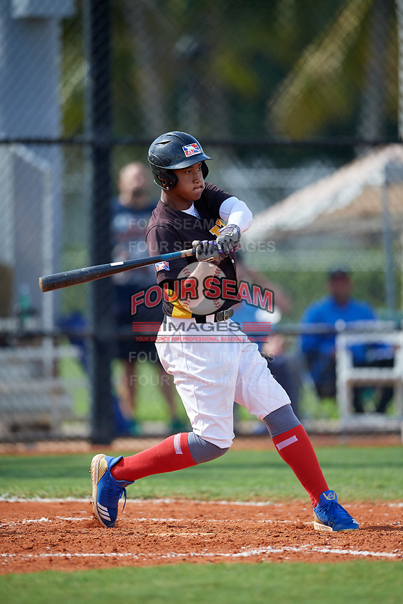 Randy De Jesus (8) during the Dominican Prospect League Elite Florida Event at Pompano Beach Baseball Park on October 15, 2019 in Pompano beach, Florida.  (Mike Janes/Four Seam Images)