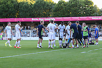 Players take a drink break during the Friendly match between Wycombe Wanderers and Brentford at Adams Park, High Wycombe, England on 19 July 2016. Photo by David Horn PRiME Media Images.