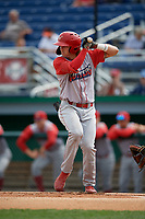 Williamsport Crosscutters Bryson Stott (15) at bat during a NY-Penn League game against the Batavia Muckdogs on August 27, 2019 at Dwyer Stadium in Batavia, New York.  Williamsport defeated Batavia 11-4.  (Mike Janes/Four Seam Images)