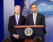 United States President Barack Obama makes a statement about how his administration will pursue a Weapons control policy in the wake of the Newtown tragedy in the Brady Press Briefing Room on Wednesday, December 19, 2012.  Vice President Joe Biden stands at left..Credit: Ron Sachs / CNP