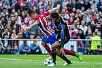 Fernando Torres of Atletico de Madrid holds off pressure from  Danilo Luiz da Silva of Real Madrid during the match of Champions League between Atletico de Madrid and Real Madrid at Vicente Calderon Stadium in Madrid, May 10, 2017. Spain.