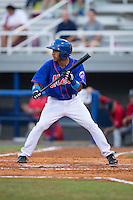 Raphael Ramirez (21) of the Kingsport Mets squares to bunt against the Elizabethton Twins at Hunter Wright Stadium on July 8, 2015 in Kingsport, Tennessee.  The Mets defeated the Twins 8-2. (Brian Westerholt/Four Seam Images)